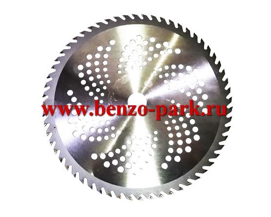 Диск (нож) с победитовыми напайками, размер 255х25,4х1,3 60 зубьев, для бензокос и электротримеров