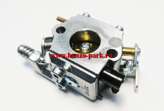 Карбюратор для китайских бензопил с объемом двигателя 38 см3 и 41 см3, типа Champion 137, Champion 142, Carver 238, Carver 241 (под подкачку топлива, на два выхода)