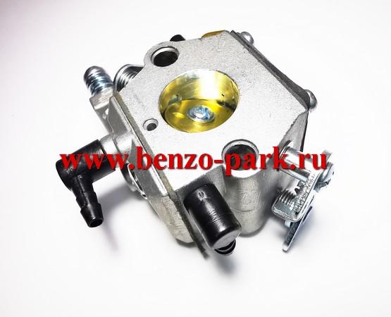 Карбюратор китайских бензопил с объемом двигателя 45см3, 52см3 и 58 см3 (для бензопил с подкачкой, на три выхода, автоматический подсос))