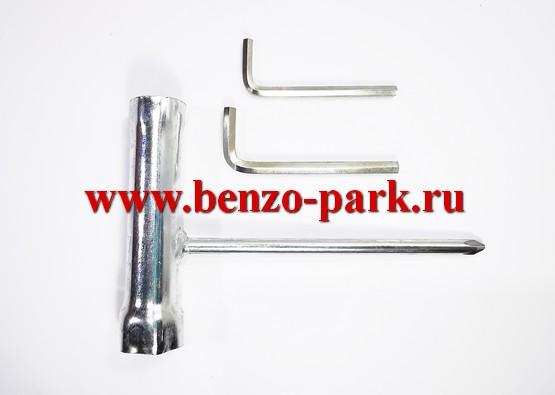 Комплект инструмента китайских бензокос с объемом двигателя 33 см3, 43 см3 и 52 см3 (свечной ключ и два шестигранника)