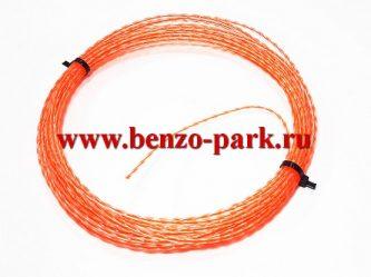Леска триммерная Duo Twist - Dual Cut 3,0 мм х 10м, сечение витой квадрат с твердым сердечником красного цвета