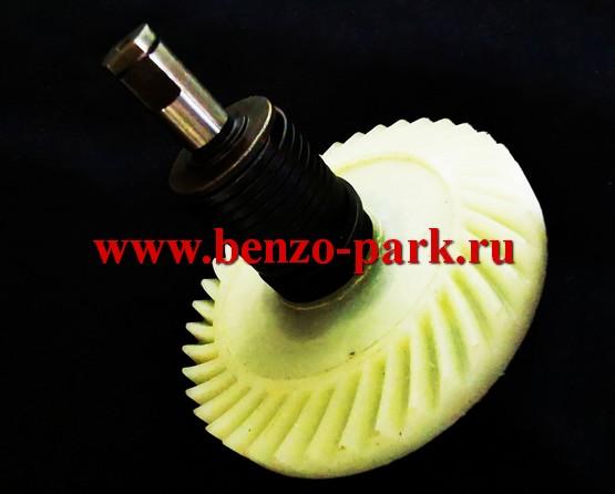 Пластиковая шестерня ведомая в сборе с валом и пружиной для цепных электропил с продольным расположением двигателя (010239F1)