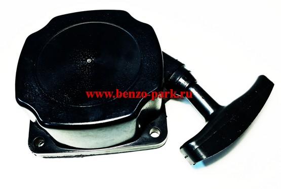Стартер в сборе для китайских бензокос с объемом двигателя 33см3, 43 см3 и 52 см3, шкив с проволокой (с усами)