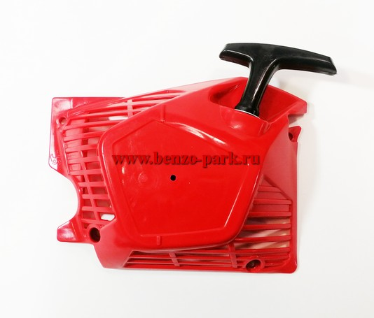 Стартер в сборе для китайских бензопил с объемом двигателя 45 см3, 52 см3 и 58 см3, типа Парма Практик БП 045/15, БП 052/18 и БП 058/18