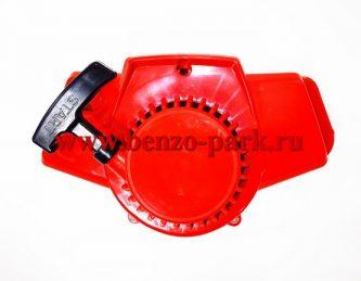 Cтартер в сборе для бензокос с верхним баком, типа Ермак, Калибр, мотопомп, минибайков (шкив с металлическими усами)